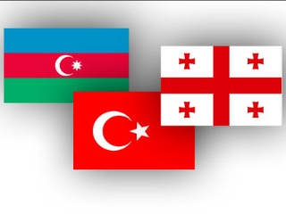 Flags Azerbaijan Turkey Georgia 090612